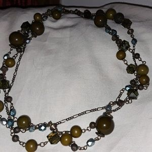 Vintage multi strand metal lucite bead necklace